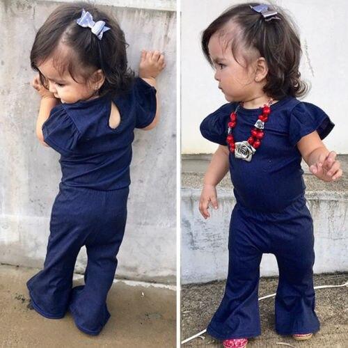 Doelstelling Hot Casual Baby Meisjes Kid Denim Romper Jumpsuit Een Stukken Overalls Outfits Kleding 1-7y Elegant En Sierlijk