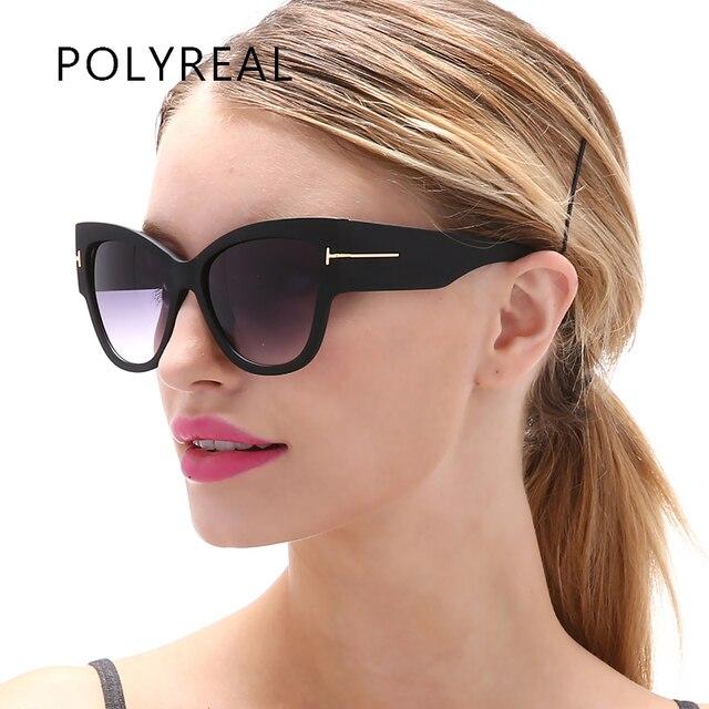 921d0207c9 POLYREAL Oversized Women Sunglasses Cat eye Brand Designer Vintage Fashion  Gradient Tom Sun Glasses Lady TF Big Optical Frame