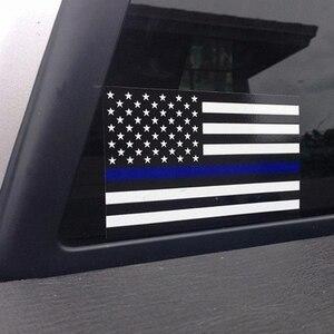 Image 2 - 1PCS משטרת קצין דק כחול קו אמריקאי דגל ויניל מדבקות לרכב מדבקה #1