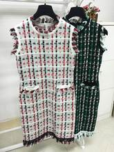 77Fang women's 2016 spring summer high quality fashion elegant plaid slim sheath tassel dress