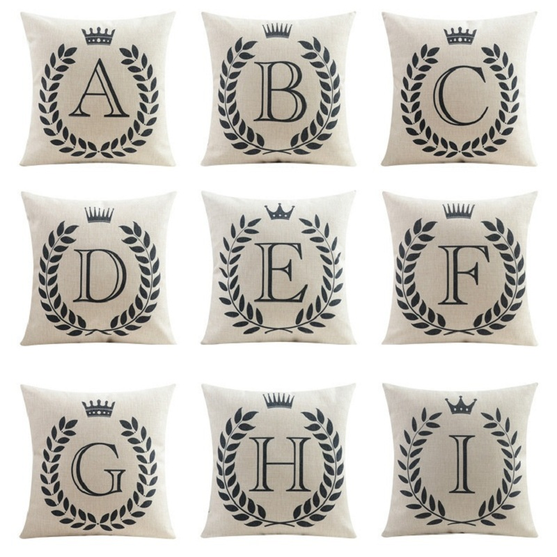 Custom Decorative Pillow Covers : Capital Letters Cushion Cover Initials Baby Name Pillow Case Crown Black and white Pillow Cover ...