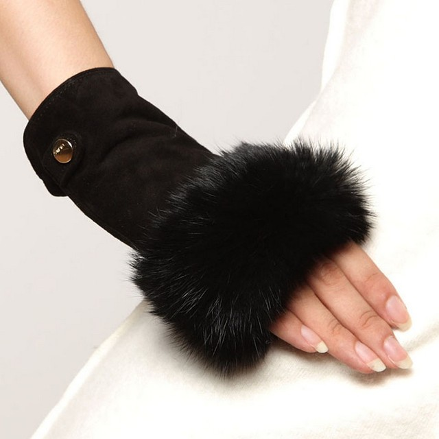 2017 Fashion Finger Less Mittens Real Genuine Leather Suede Women Gloves Solid Wrist Rabbit Fur Lady Fingerless Mitten EL019NC