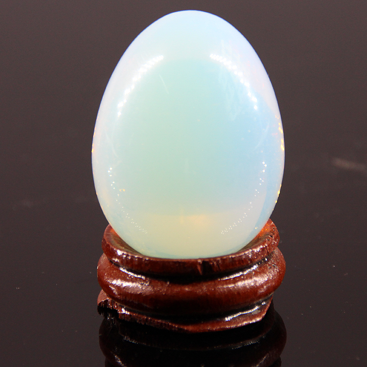 2015 40*30mm Opal quartz lemon stone jasper Eggs With wood stand Natural Gemstone Bell Chakra Healing Reiki Stone Carved Crafts