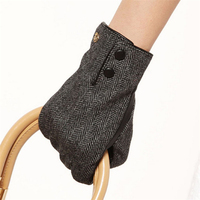 Fashion Women Winter Gloves Wool Felt Material Surface Solid Hand Sheepskin Glove Wrist Genuine Leather For Driving Sale EL036NC