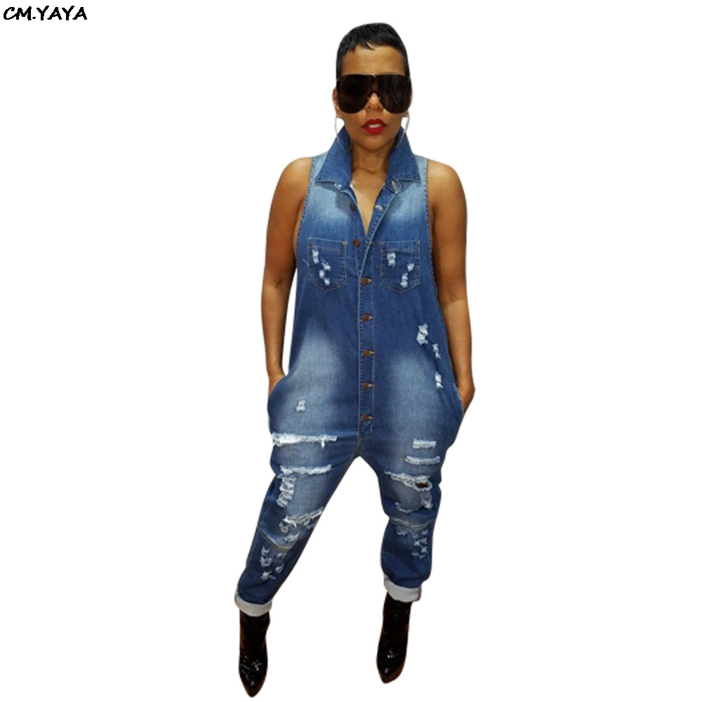 Jeans Persevering 2019 New Women Summer Sleeveless Button Up Hole Harem Romper Jeans Fashion Vintage Classic Denim Jumpsuit Playsuit Ld8318 Do You Want To Buy Some Chinese Native Produce?