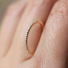 Simple Cubic Zirconia Thin Rings for Woman Elegant Rose Gold color Bridal wedding Party Finger Jewelry girl Gift(China)