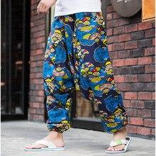 Летние мужские повседневные свободные шаровары с эластичной талией из хлопка и льна, мешковатые штаны в стиле бохо с цветочным принтом