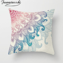 Fuwatacchi Fresh Water Oil Painting Cushion Cover Colorful Mandala Pattern Throw Pillow Pink Flower Pillowcases