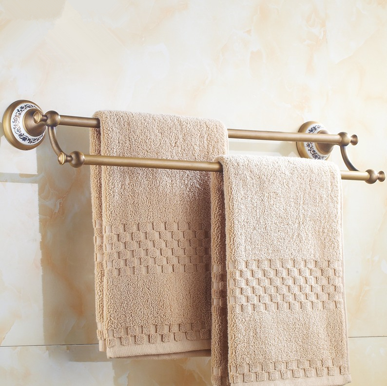 (24,60cm)Bathroom accessories ,Brass Material Double Towel Bar &Towel Rack / Antique Brass Finish Vintage Style ceramics Design antique stainless steel double towel bar antique towel rack brush finished towel rail double layer 60cm bathroom accessories