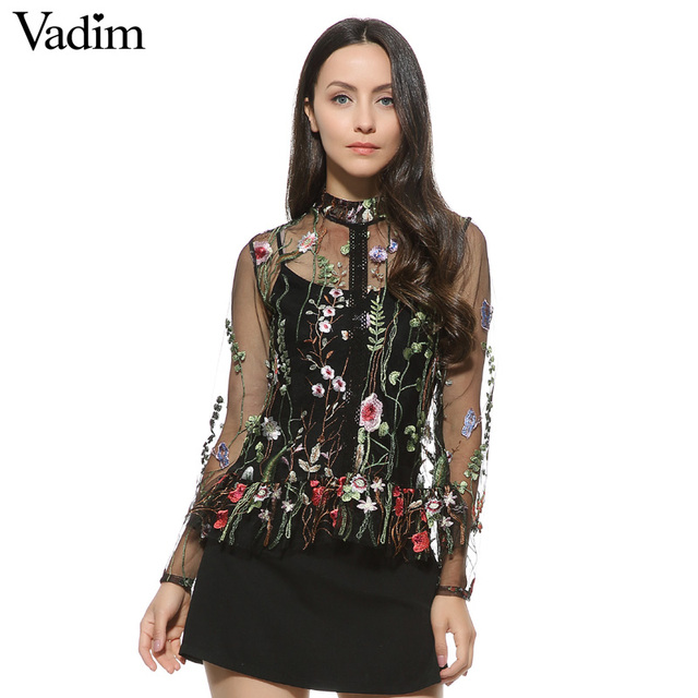 Women sweet flower embroidery mesh shirts sexy transparent long sleeve  blouse female stand collar brand tops da35fa651849