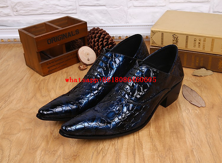 Designer Mens Shoes Italian Leather Patent Blue Pointed Toe Lace Up Men Dress Shoes Formal Wedding Shoes