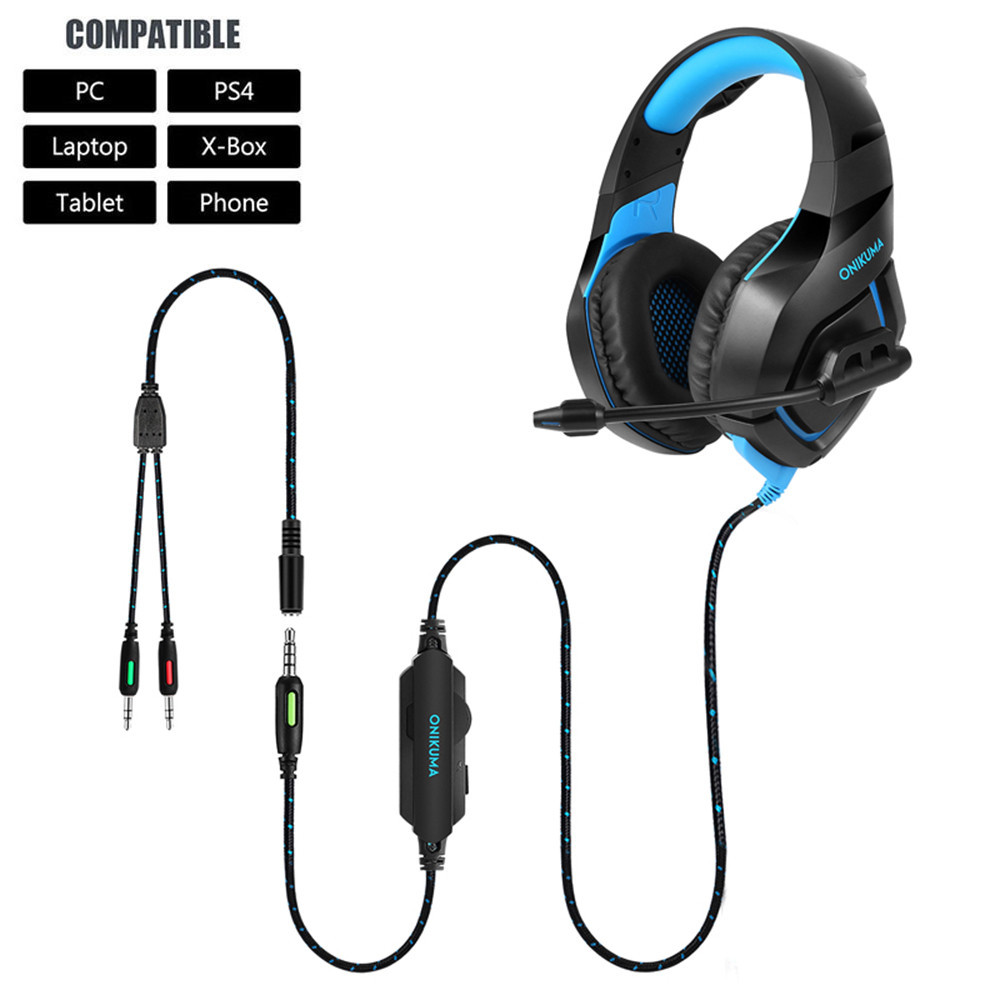 ONIKUMA PS4 Headset Casque PC Gamer Bass Gaming Headphones with Microphone + Pro Gaming Mouse (5)