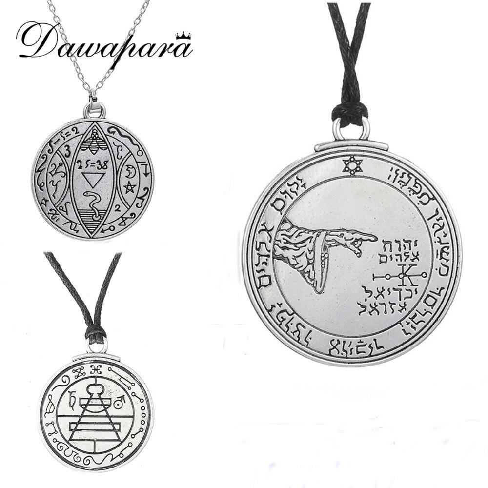 Dawapara Wicca Colar Maskulino Mince Medailon Pentagrama Nadpřirozené šperky Nastavitelný řetěz Vintage Přívěsek Šperky