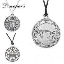 Dawapara Wicca Colar Masculino Coin Medallion Pentagrama Supernatural Jewelry Adjustable Chain Vintage Pendant Jewelry