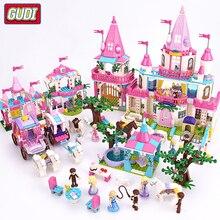 Girls Alice Princess Royal Carriage Shower Bath Pink Castle Bricks Building Blocks Toys Compatible Legoes Friends