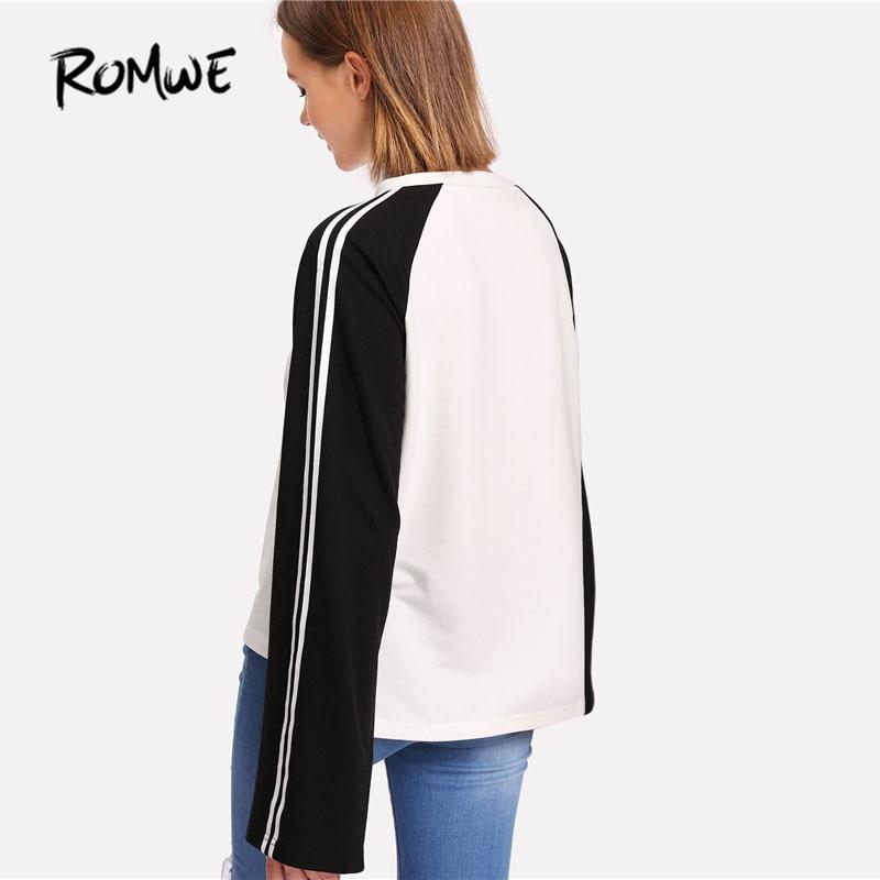 ROMWE полосатый рукав реглан Для женщин топ 2018 новый черный и белый с круглым вырезом Женская одежда с длинным рукавом Повседневное футболка