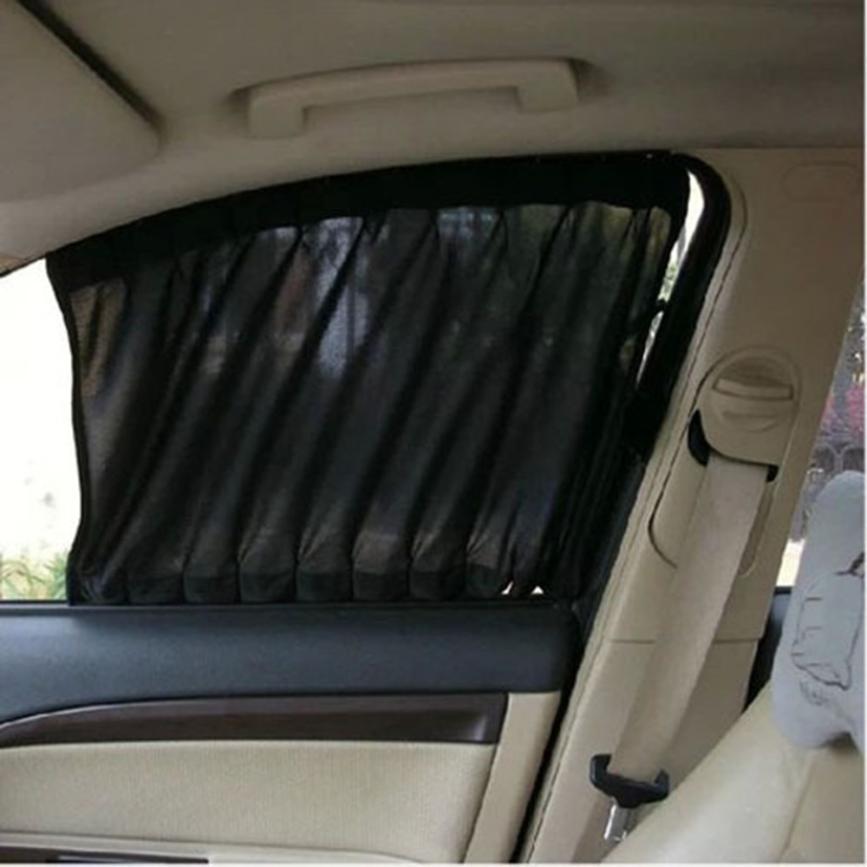 2 шт. автомобиля Защита от солнца Тенты стороны нейлоновой сетки окна Шторы складной Защита от солнца Тенты УФ-защита автомобиля укладки чел...