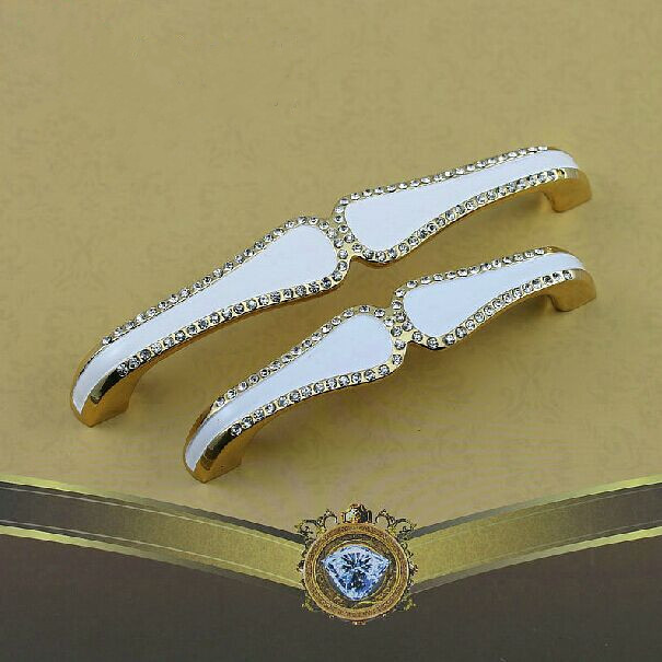 5 fashion deluxe glass diamond handles gold kitchen cabinet wardrobe door handle pulls 128mm ivory white furniture handles