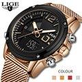 2020 LIGE новые часы Топ люксовый бренд нержавеющая сталь спортивные мужские часы военный двойной дисплей водонепроницаемые часы Relogio Masculino