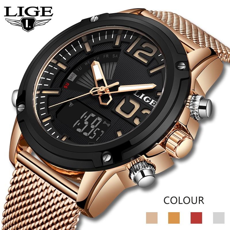 2020 LIGE New Watch Top Luxury Brand Stainless Steel Sports Men Watch Military Dual Display Waterproof Watches Relogio Masculino
