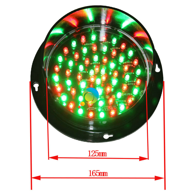DC24V  Customized 125mm Mix Red Green LED Traffic Signal Light Waterproof Red Green LED Traffic Lamp