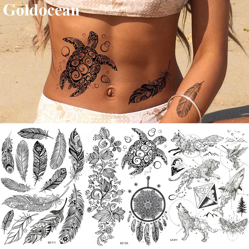 GoldOcean Black Lace Dream Catcher Turtle Tattoo Stickers Fake India Feather Tatoos Temporary Waterproof Waist Animals Tattoo