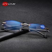 UVLAIK ультралегкие очки без оправы для чтения, женские и мужские прозрачные линзы, анти-Blu-Ray компьютерные очки, очки для чтения Пресбиопии