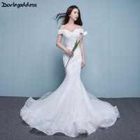 Elegant Luxurious Lace Mermaid Wedding Dresses Off Shoulder Short Sleeves Corset China Bridal Gowns Sereia 2017 Robe De Mariage