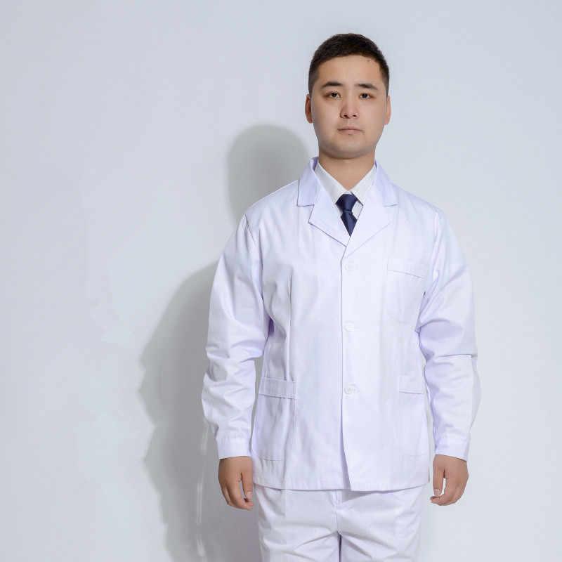 7e8b78586be71 Мужчины белый Спецодежда медицинская пальто Спецодежда медицинская услуги  равномерное медсестра Костюмы с длинными рукавами полиэстер защитить