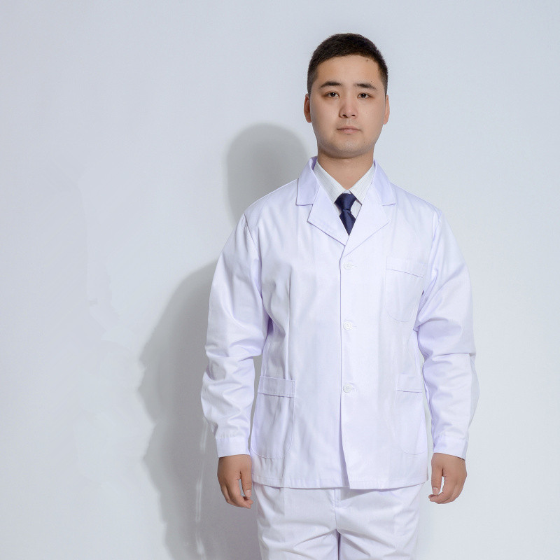 Men White Medical Coat  Medical Services Uniform Nurse Clothing Long-sleeve Polyester Protect Lab Coats Cloth Short Section