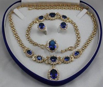Anneau de cristal pendentif collier boucles d'oreilles et Bracelet ensemble de bijoux > AAA 18 K GP plaqué or de mariée large montre ailes reine JEWE
