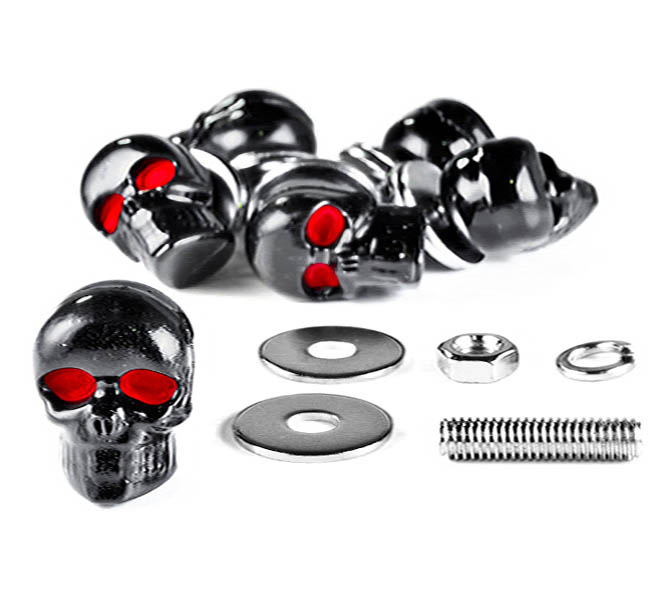 Brand New Custom Chrome/black Skeleton Skull Bolt Nuts Screws 5mm For Honda VT Shadow Spirit Velorex Deluxe 600 750 1100