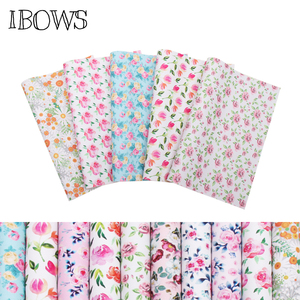 IBOWS 22*30cm Faux Snythetic Leather Fabric Sheets Flowers Printed Vinyl Leather for DIY Hair Bow Bags Shoes Crafts Material(China)
