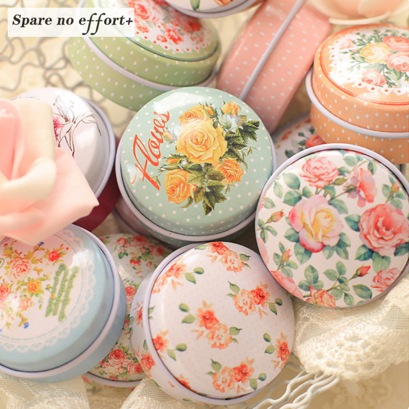 12 Pieces/lot Flowers Tea Caddy Receive Box Candy Storage Box Wedding Favor Tin Box Cable Organizer Container Household