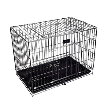 Cheap Folding Metal Dog Crate Foldable Pet Cat Cage   Kennel Double-Door Easy Install  Pink Blue S size for Small pet 45*30*38CM