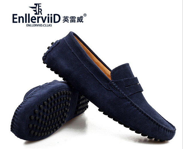 2016 Spring&Summer New Suede Leather Non-slide Men Loafers Slip On Fur and Without Fur Shoes Jogging Driving Casual Boat Shoes