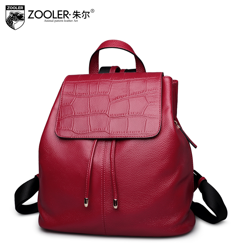 2017 hot women backpack Genuine Leather backpacks new cowhide ZOOLER stylish top quality women bag double belts Bolsas#T-6931 zooler genuine leather backpacks 2016 new real leather backpack for men famous brand china hot large capacity hot 65055