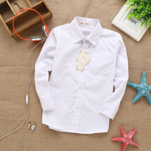 2015 new style  lace cotton solid White baby kids boys Blouse white shirts  with long sleeves for children boys christmas gift недорого