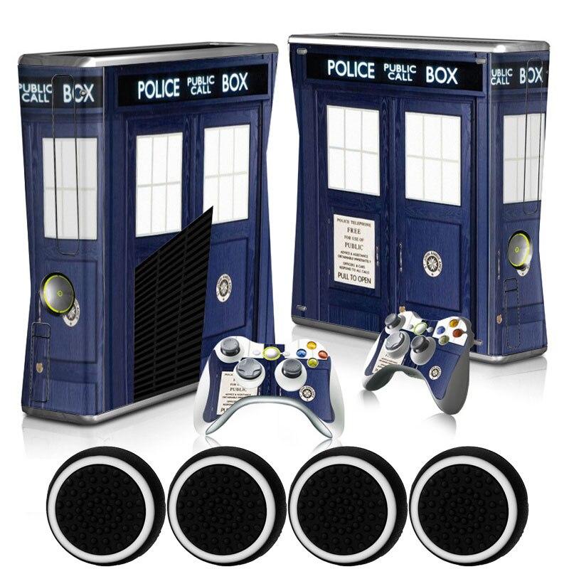 Police BOX DIY Custom Sticker Vinyl Host Skin Sticker Protection Decal + 2 Gamepad Films for Xbox 360 Slim Console