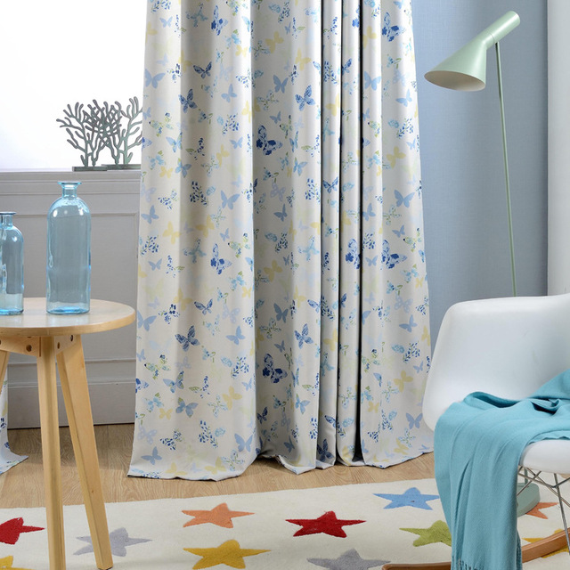 butterfly window curtains modern window decoration blackout fabric ...
