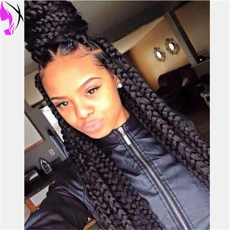 Fashion Hot Selling Box Braids Wig Natural Black Heat Resistant Hair Full  Synthetic Braided Lace Front Wigs For Women On Aliexpress.com | Alibaba  Group