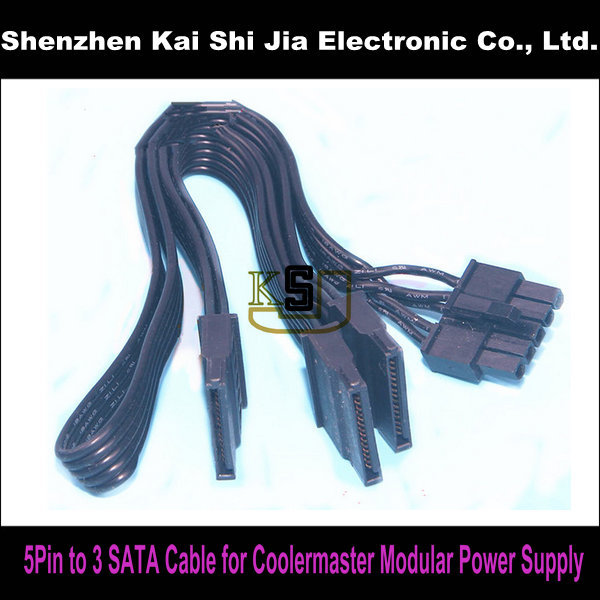 High Quality 5pin To 3 X Sata Modular Power Supply Adapter Cable For