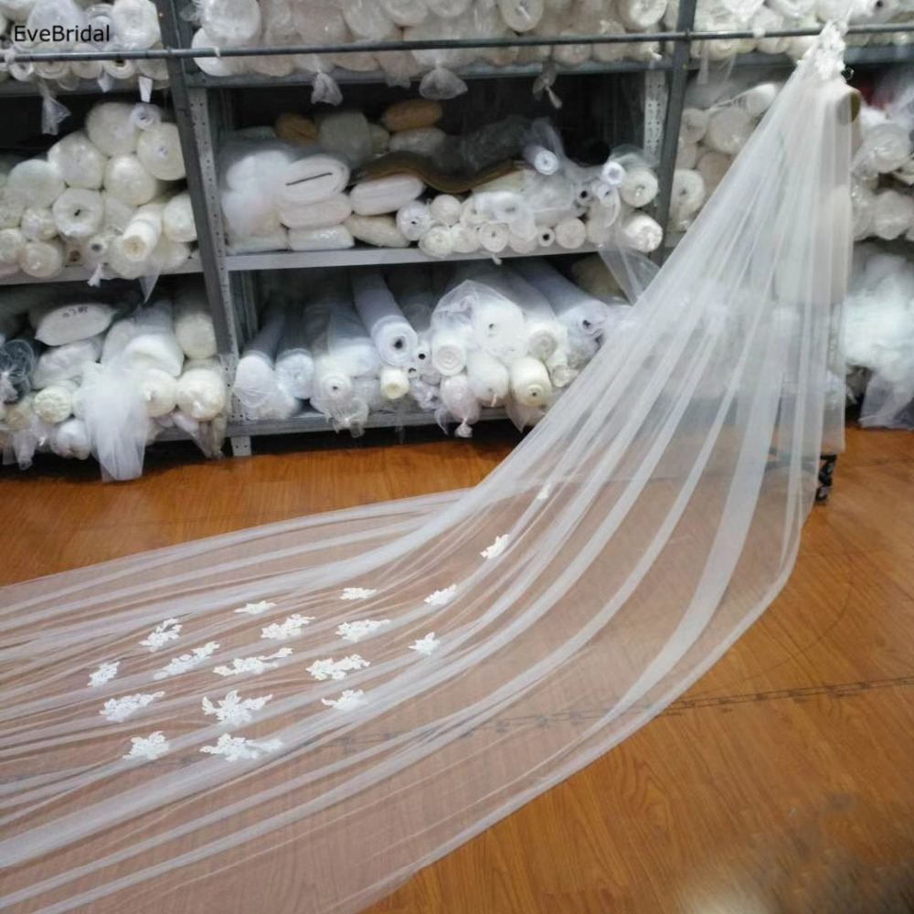 Купить с кэшбэком 5 Meters White and Ivory Lace Cathedral Length Applique Edge Wedding Bridal Veil without Comb
