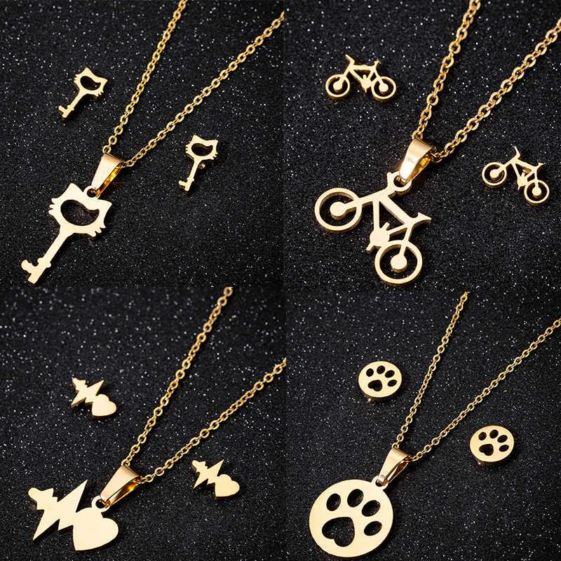 น่ารัก Hollow ต่างหูแมวสำหรับผู้หญิงจักรยานเด็ก Paw Gold ต่างหูสร้อยคอและเครื่องประดับชุดจี้สร้อยคอคริสต์มาสของขวัญ Bijoux