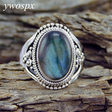 YWOSPX Vintage Anel Imitation Moonstone Silver Color Rings for Women Jewelry Wedding
