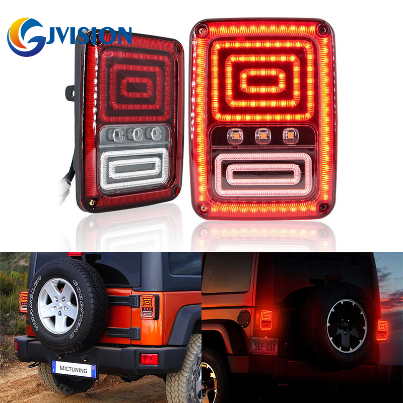 Plug and play led tail light led Rear signal Reverse taillights Brake lamps for Jeep Wrangler Accessories car styling tail lights for toyota highlander 2015 led tail lamp rear trunk lamp cover drl signal brake reverse
