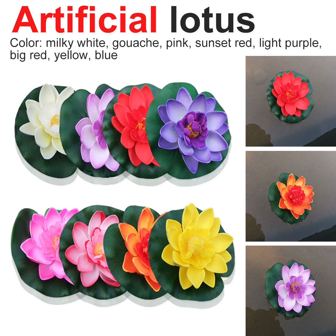 Artificial Lotus Home Garden Pond Decoration Artificial Lotus Water Lily Floating Flower Pond Plant Ornament 1pcs 10cm