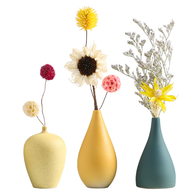 European Simple Ceramic vase yellow Porcelain vases small flower vase DIY Bottle wedding vases for table decorations home decor 5