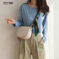 VENOF luxury female small saddle bags women split leather messenger bag elegant ladies shoulder bag crossbody bag for women 2019