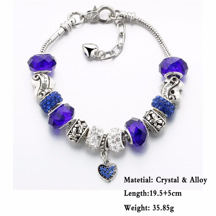 17KM Vintage Silver Color Charm Glass Bracelets For Women 17 New Crystal Heart Beads Bracelets & Bangles Pulseras DIY Jewelry 35